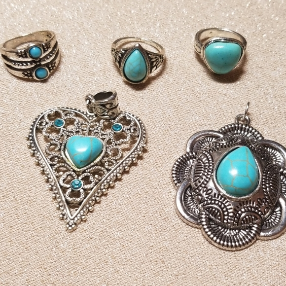 Jewelry - Collection of Silver Turquoise Jewelry